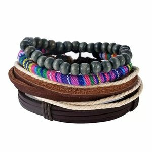 Other - 4PCS LEATHER AND BEAD BRACELETS